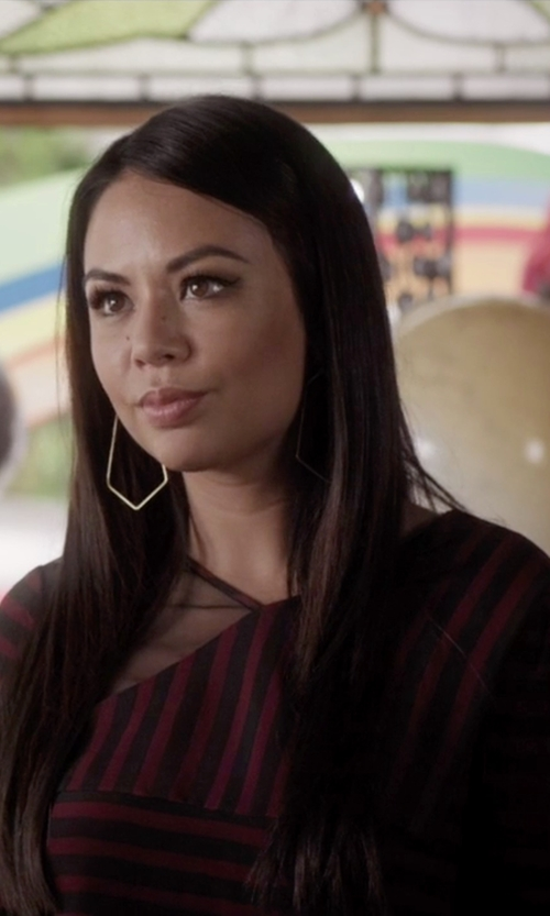 Janel Parrish with BCBGMAXAZRIA Skyla Asymmetrical Stripe Top in Pretty Little Liars