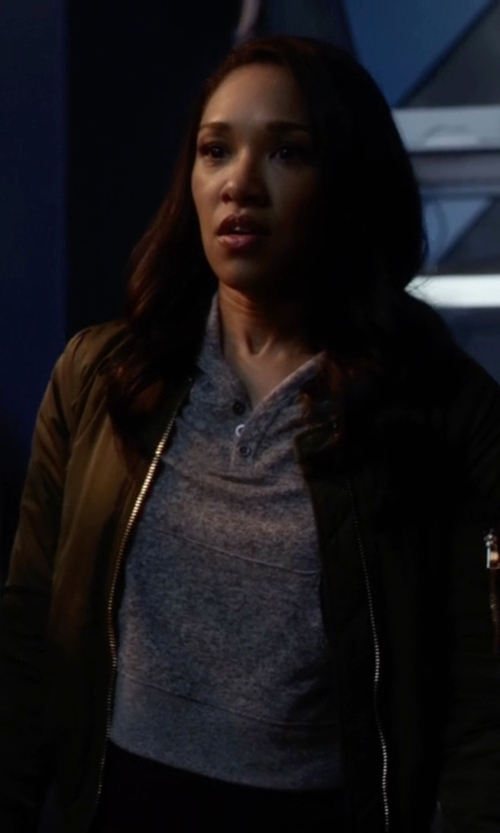 Candice Patton with Topshop MA1 Bomber Jacket in The Flash
