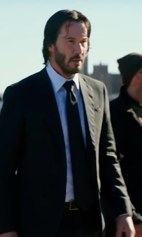 Keanu Reeves with Eton of Sweden Contemporary-Fit Solid Twill Dress Shirt in John Wick: Chapter 2