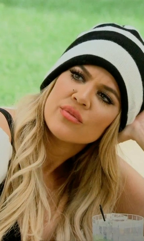 Khloe Kardashian with Vince Camuto Striped Fine Gauge Knit Reversible Beanie in Keeping Up With The Kardashians