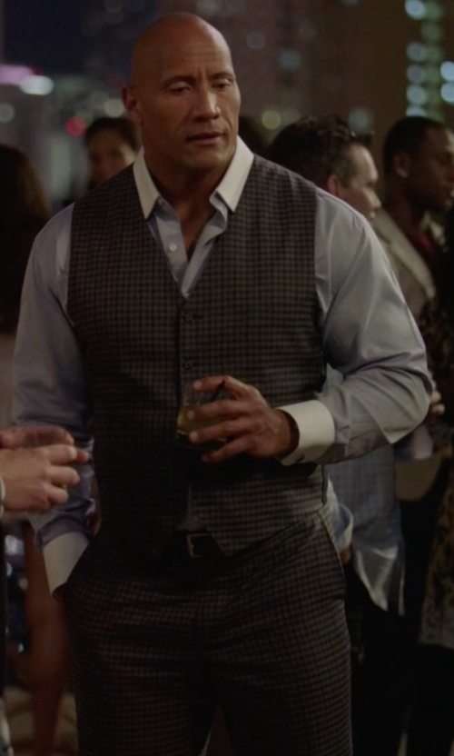 Dwayne Johnson with Theory Marlo Amboy Wool Plaid Pants in Ballers