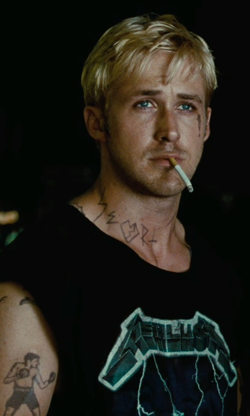 Ryan Gosling with Bravado Men's Metallica- Ride Lightning T-Shirt in The Place Beyond The Pines