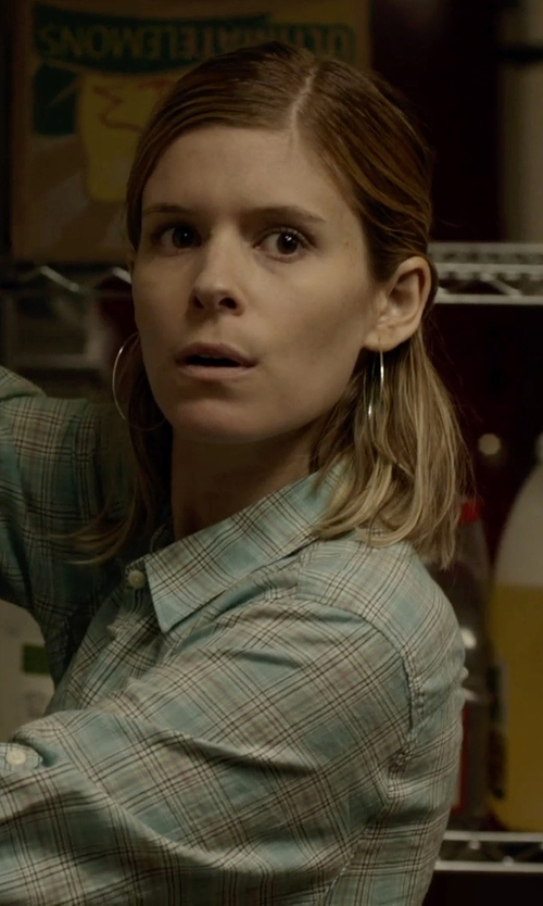 Kate Mara with Argento Vivo Silver-Tone Large Endless Hoop Earrings in Captive