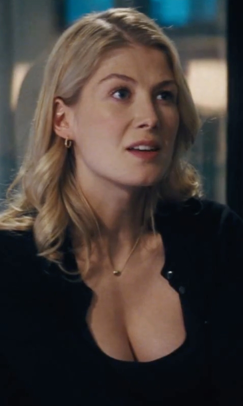 Rosamund Pike with Charter Club Crew-Neck Cardigan in Jack Reacher