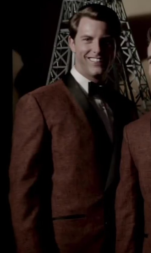 Michael Lomenda with Aliexpress Red peaking lapel double breast suit in Jersey Boys