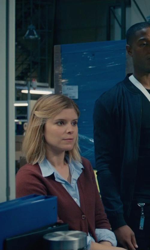 Kate Mara with J. Crew Cashmere Boyfriend Cardigan in Fantastic Four
