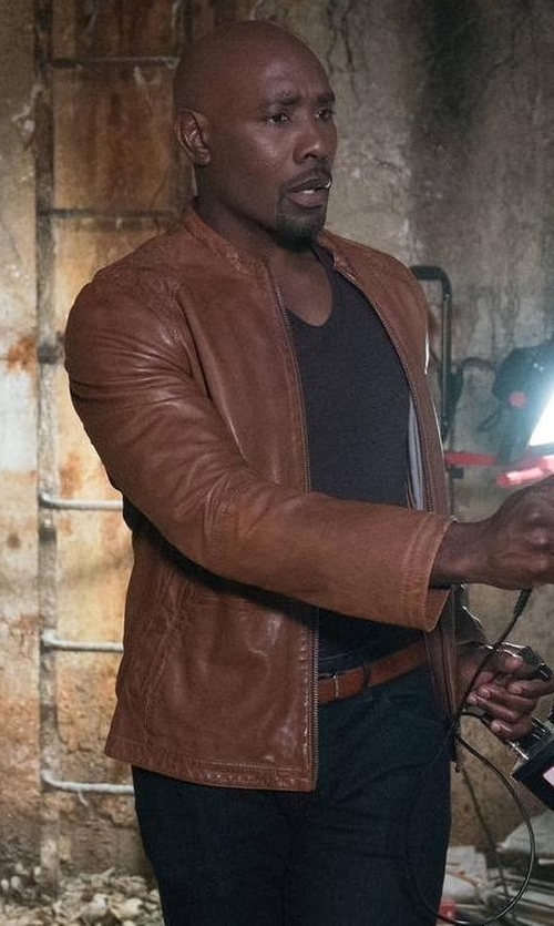 Morris Chestnut with Cole Haan Leather Zip-Up Jacket in Rosewood