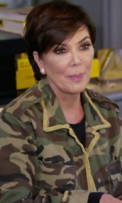 Kris Jenner with Saint Laurent Camouflage Jacket in Keeping Up With The Kardashians