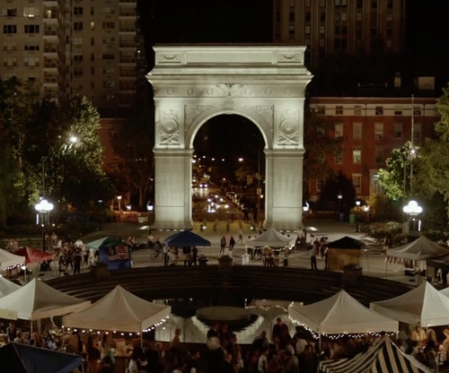 Unknown Actor with Washington Square Arch New York City, New York in Mr. Robot