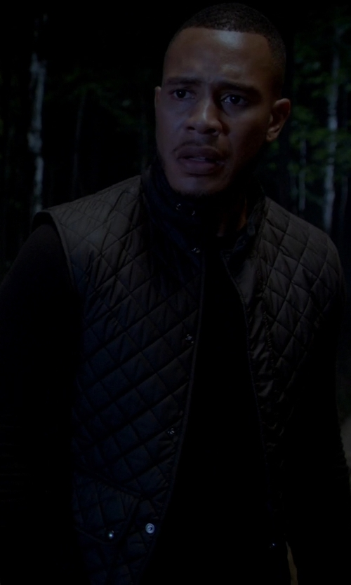 Unknown Actor with Belstaff Black Quilted Vest in Empire