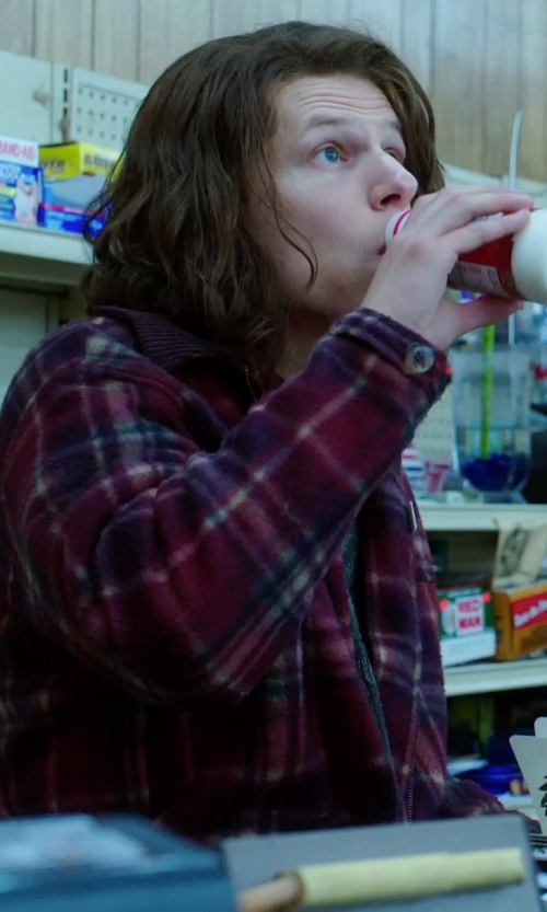 Jesse Eisenberg with Vans Trim Fit Check Flannel Woven Shirt in American Ultra