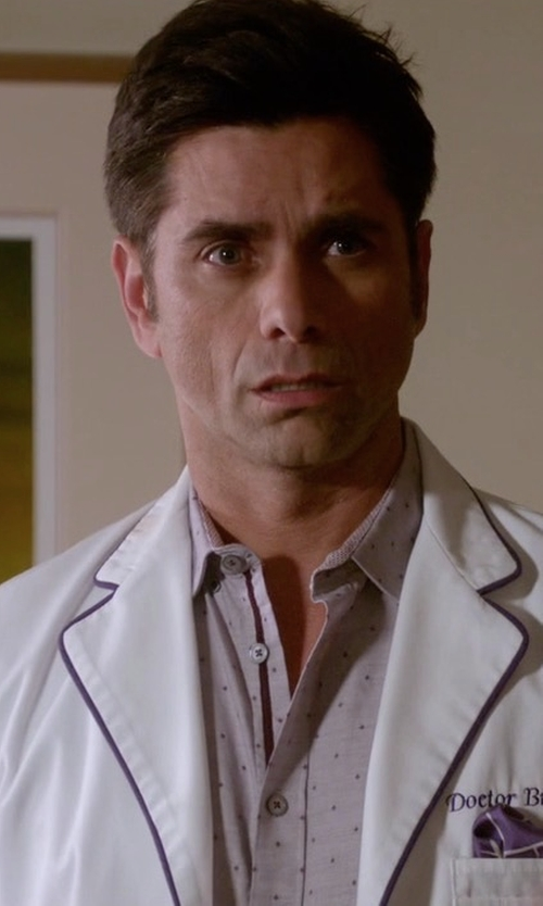 John Stamos with Michael Kors Boyd Printed Sport Shirt in Scream Queens