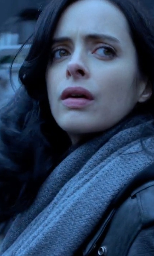 Krysten Ritter with Wyatt Seed Knit Wool Blend Minerva Infinity Scarf in Marvel's The Defenders