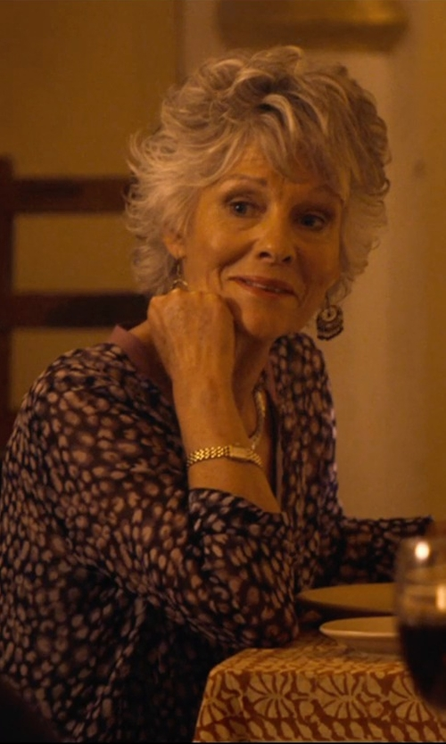 Diana Hardcastle with Marc by Marc Jacobs Ferus Golden Chronograph Watch in The Second Best Exotic Marigold Hotel
