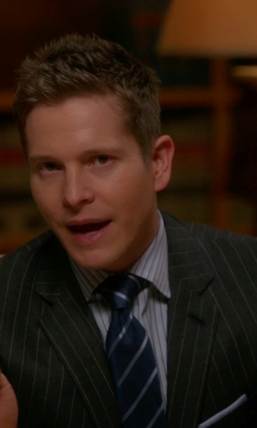 Matt Czuchry with Corneliani Academy Pinstriped Wool Suit in The Good Wife