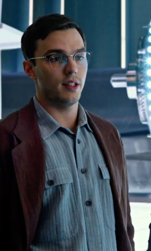 Nicholas Hoult with Anto Beverly Hills Custom Made Stripe Sport Button Shirt in X-Men: Apocalypse