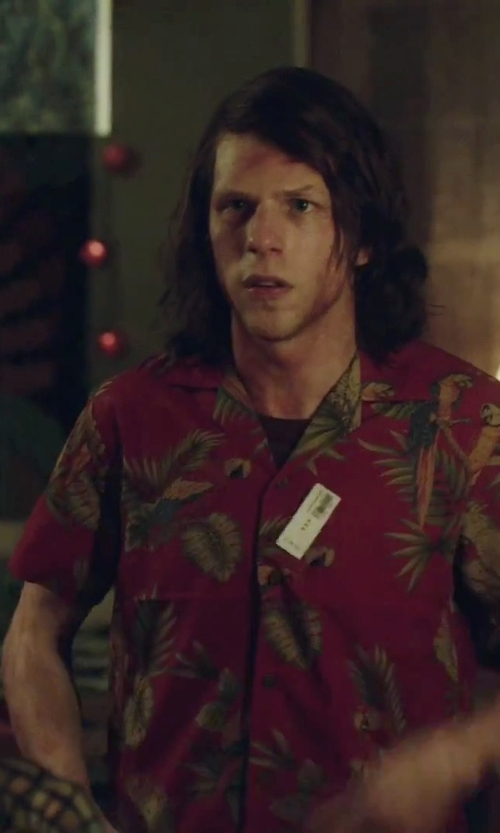 Jesse Eisenberg with Pacific Legend Brilliant Hawaiian Island Sunset Shirt in American Ultra
