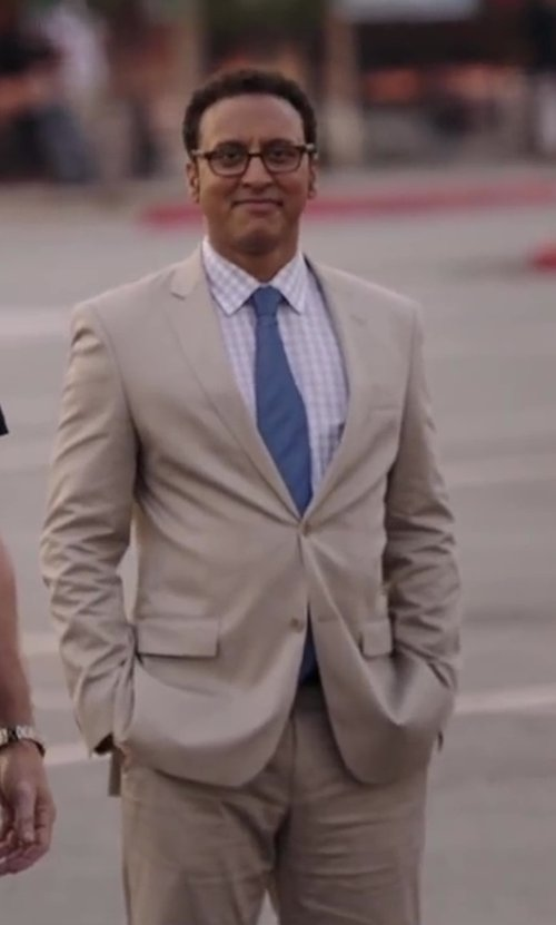 Aasif Mandvi with Saks Fifth Avenue BLACK Classic Wool/Silk Trim-Fit Suit in Million Dollar Arm