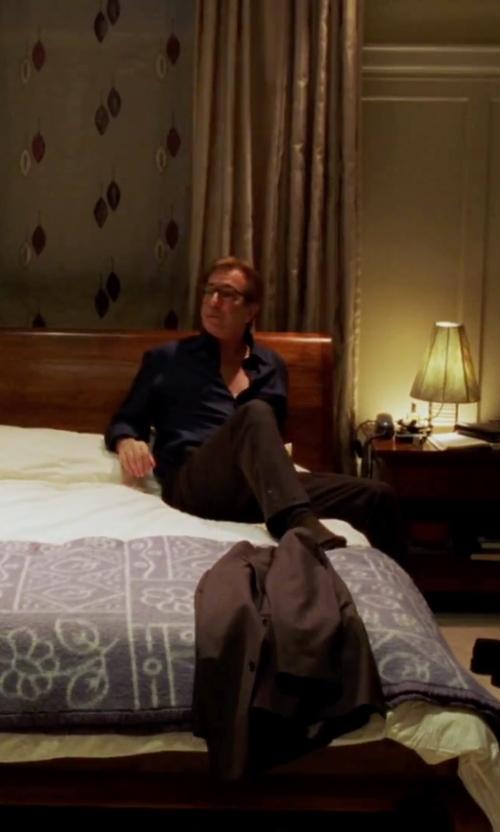 Alan Rickman with Lauren Ralph Lauren Regular-Fit Sharkskin Wool Suit in Love Actually