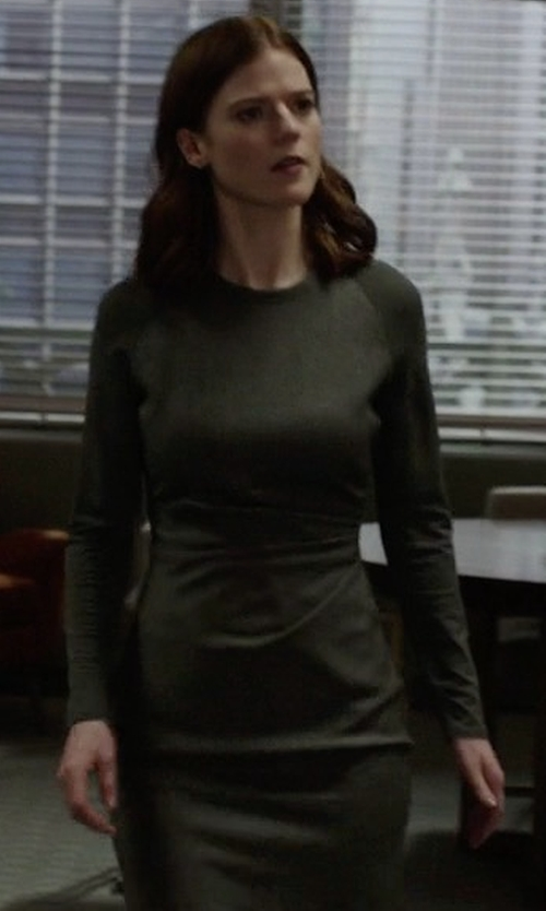 Rose Leslie with Blq Basiq Mini Long Sleeve Dress in The Good Fight