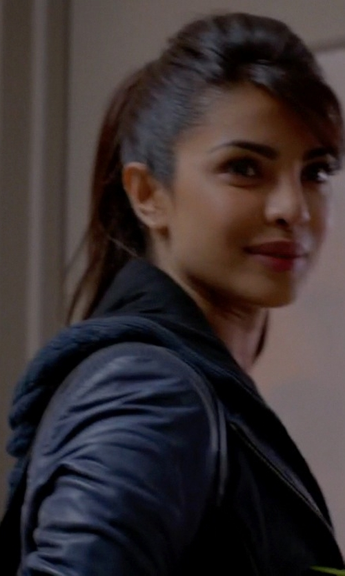 Priyanka Chopra with Standard Leather Motorcycle Lambskin Leather Jacket in Quantico