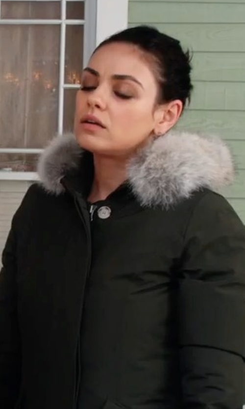 Mila Kunis with Woolrich Long Hooded Arctic Parka Coat in A Bad Moms Christmas