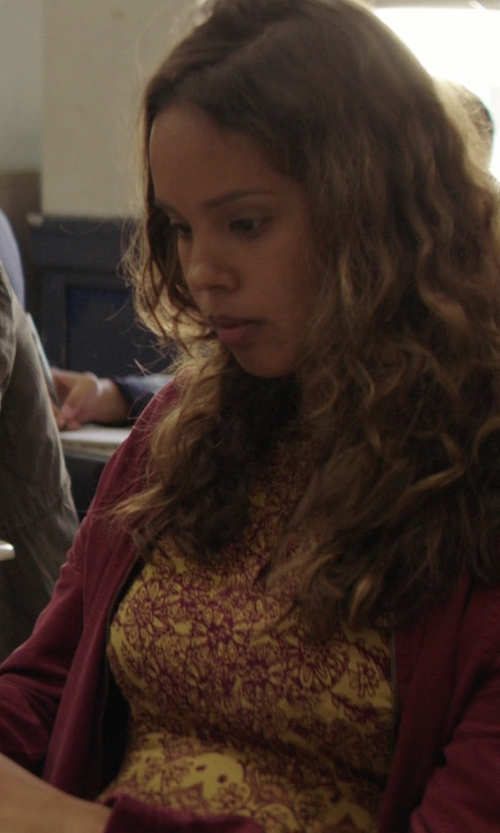Alisha Boe with Ecote Tyler Split-Neck Bell-Sleeve Dress in 13 Reasons Why