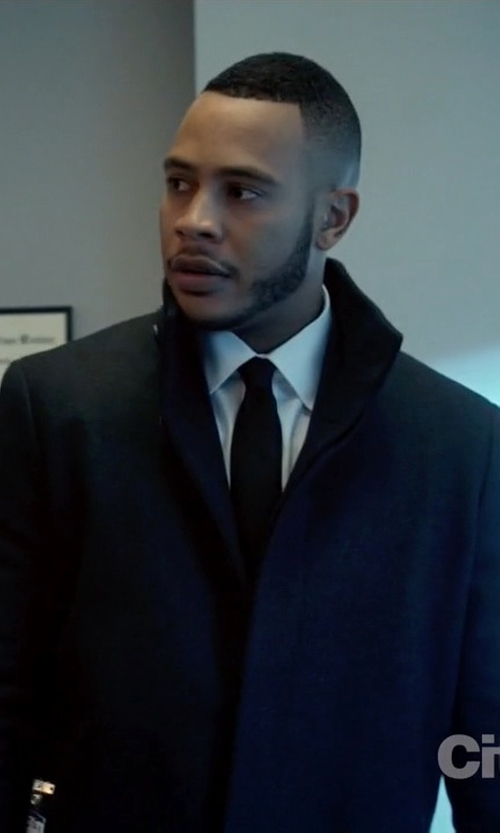Trai Byers with Theory Belvin Wool-Blend Car Coat in Empire