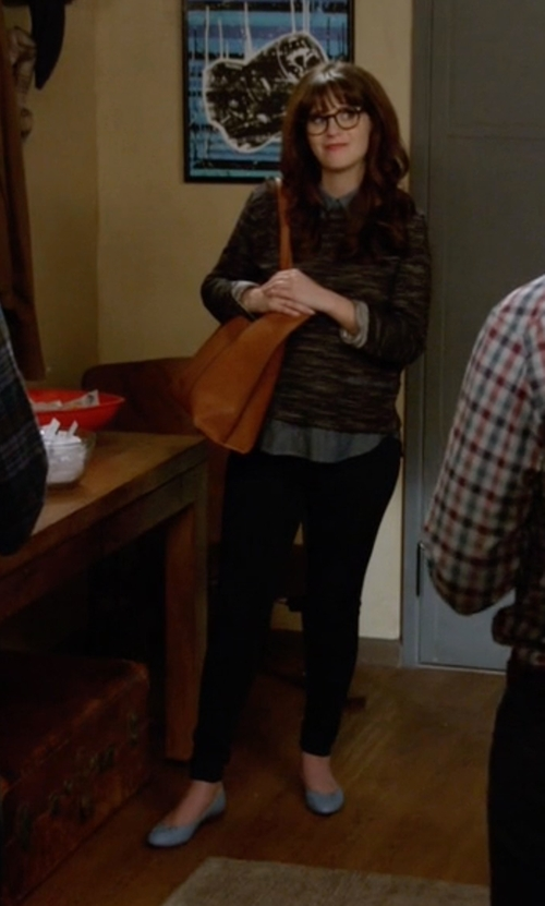 Zooey Deschanel with Joe's 'Kitty Vii' Pointy Toe Flat Shoes in New Girl