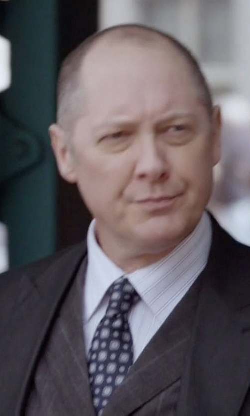 James Spader with River Island Check Wool-Blend Slim Vest in The Blacklist