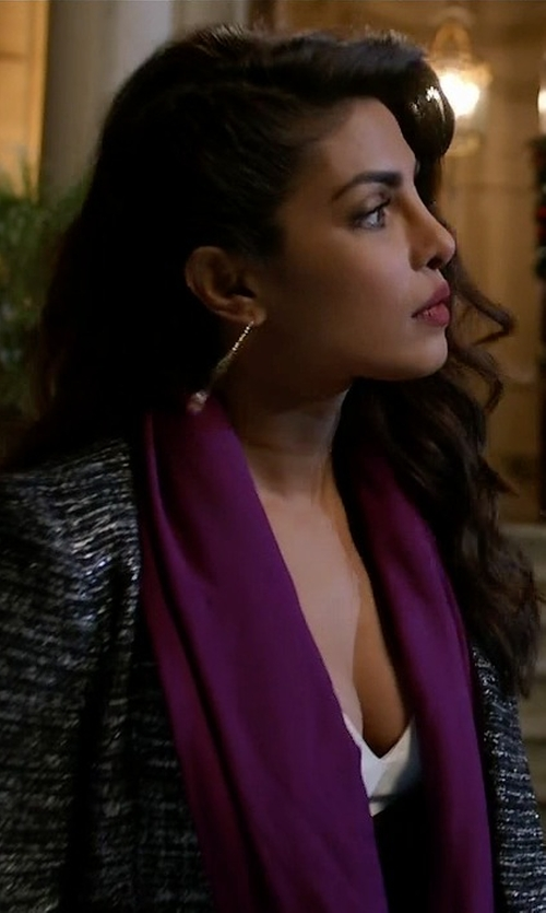Priyanka Chopra with Echo Design Solid Long & Skinny Silk Oblong Scarf in Quantico