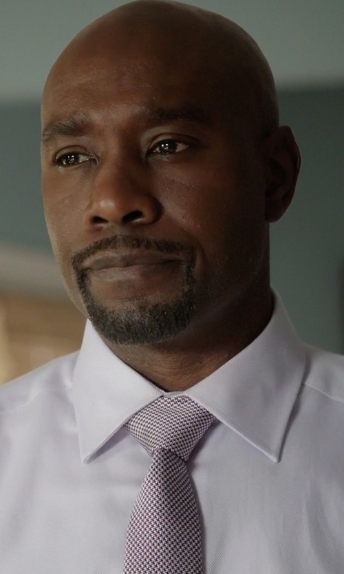 Morris Chestnut with French Connection Nathan Check Silk Tie in Rosewood