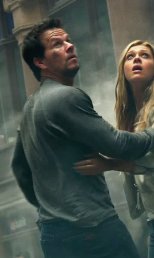 Mark Wahlberg with SPLENDID Core Jersery Long Sleeve Henley in Transformers: Age of Extinction