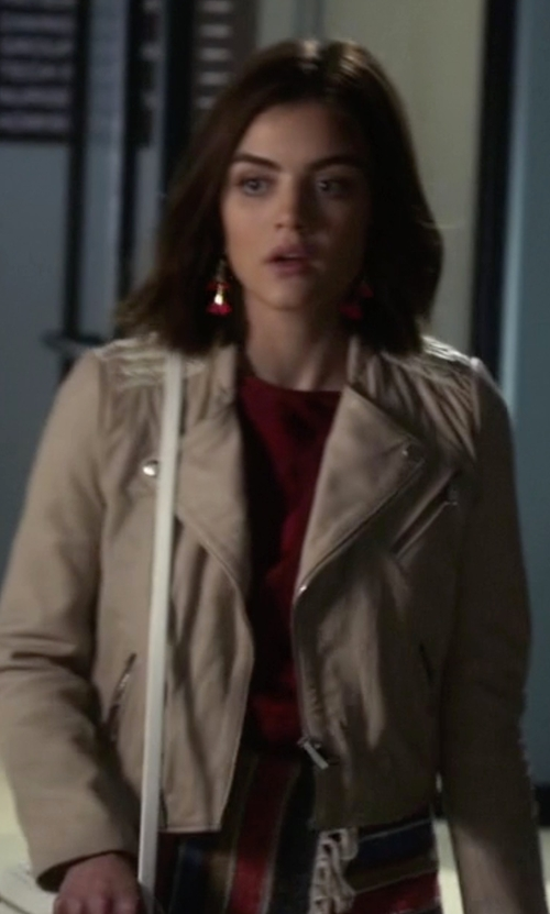 Lucy Hale with Maje Vicky Leather Jacket in Pretty Little Liars