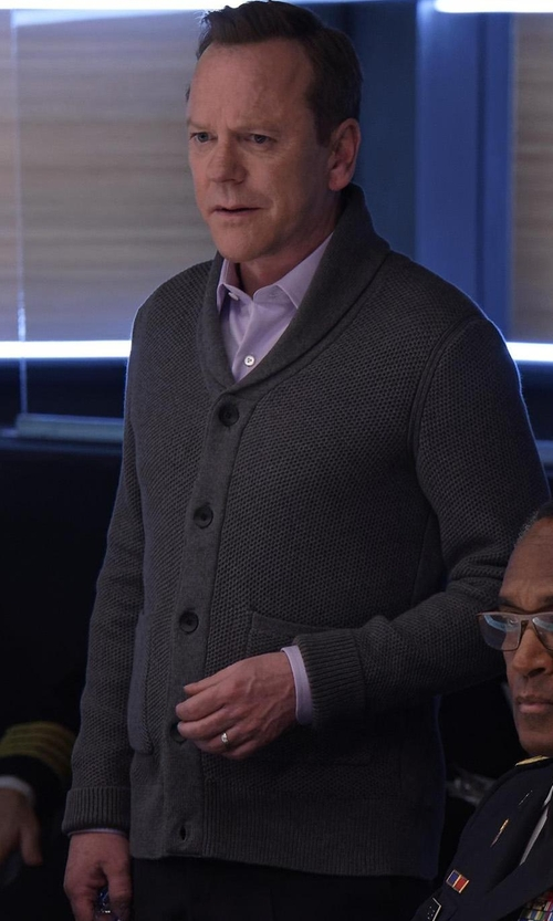 Kiefer Sutherland with Rag & Bone Avery Waffle-Stitch Cardigan in Designated Survivor