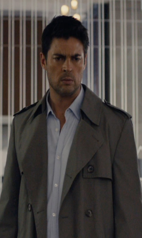 Karl Urban with Saint Laurent 'Western' Trench Coat in The Loft