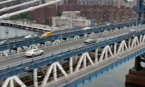 Vin Diesel with Manhattan Bridge New York City, New York in The Fate of the Furious