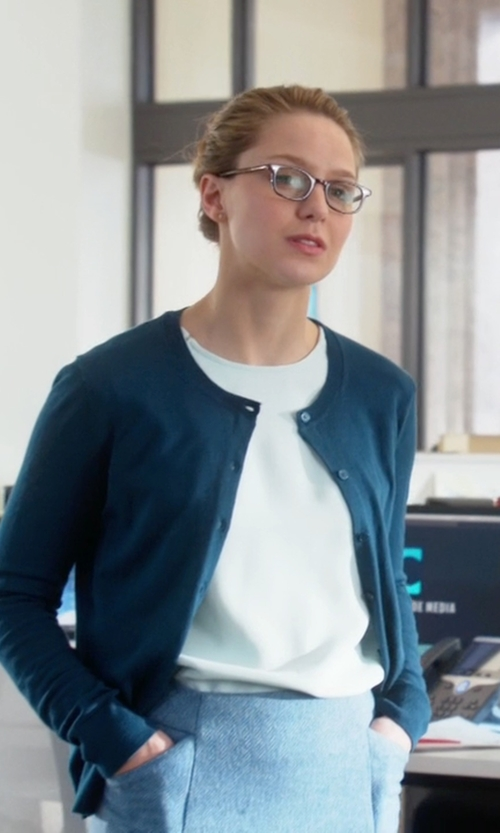 Melissa Benoist with Kate Spade New York Somerset Cardigan in Supergirl