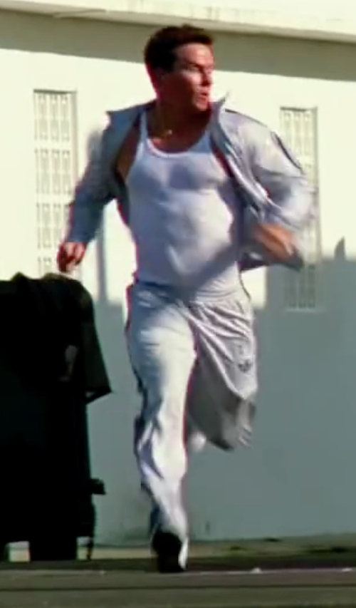 Mark Wahlberg with Adidas Originals Firebird 3 Stripe Workout Track Pants Steel Grey in Pain & Gain