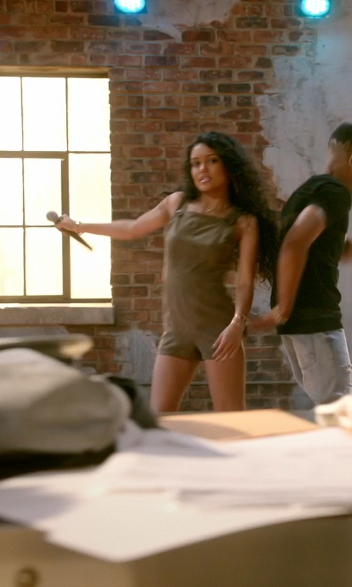 Jamila Velazquez with Topshop Suedette Military Romper in Empire