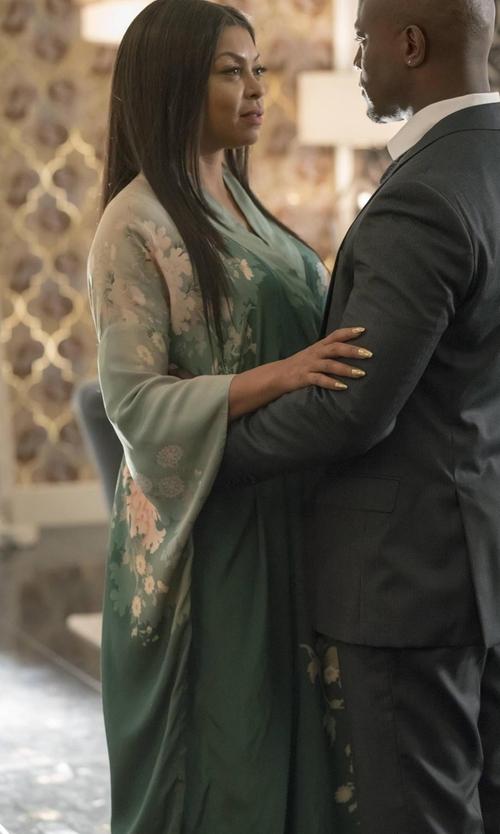 Taraji P. Henson with Athena Procopiou A Bohemian Romance Long Crepe Kimono in Empire