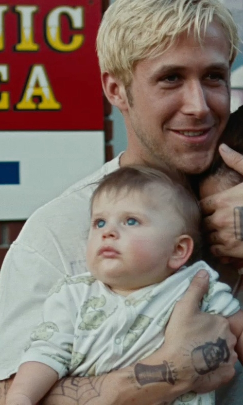 Anthony Pizza with Gerber Neutral Variety Onesie in The Place Beyond The Pines
