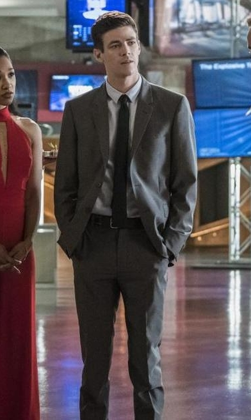 Grant Gustin with Boss Hugo Boss Mini-Check Wool Two-Piece Suit in The Flash