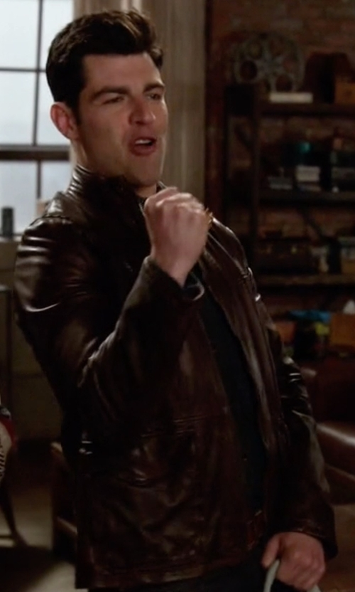Max Greenfield with Boss Orange Jermon Leather Jacket in New Girl