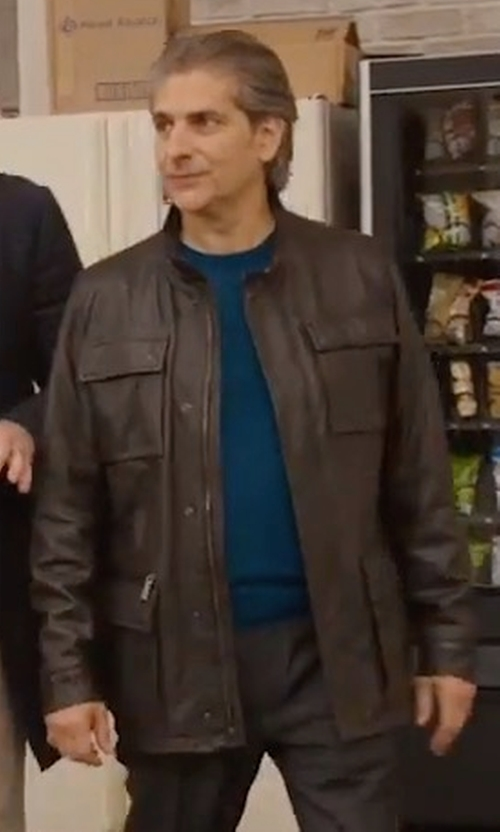 Michael Imperioli with Michael Kors Perforated Leather Bomber Jacket in Alex, Inc.