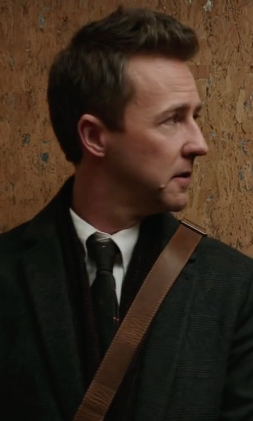 Edward Norton with Fendi Mini Monster Eyes Textured Silk Tie in Collateral Beauty
