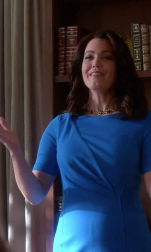 Bellamy Young with Lafayette 148 New York Half-Sleeve Waist-Paneled Dress in Scandal
