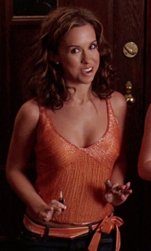 Lacey Chabert with NFL Shop Women's Sequin Tank Top in Mean Girls