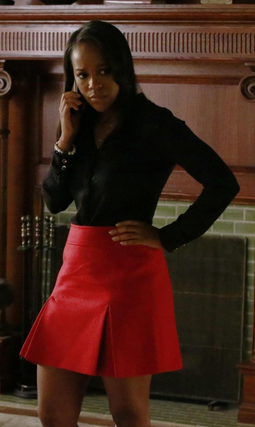 Aja Naomi King with Dondup Pleated Mini Skirt in How To Get Away With Murder