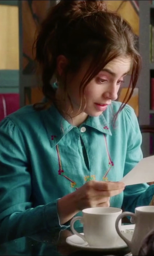 Lily Collins with Roar Snap Up Button Down Shirt in Love, Rosie